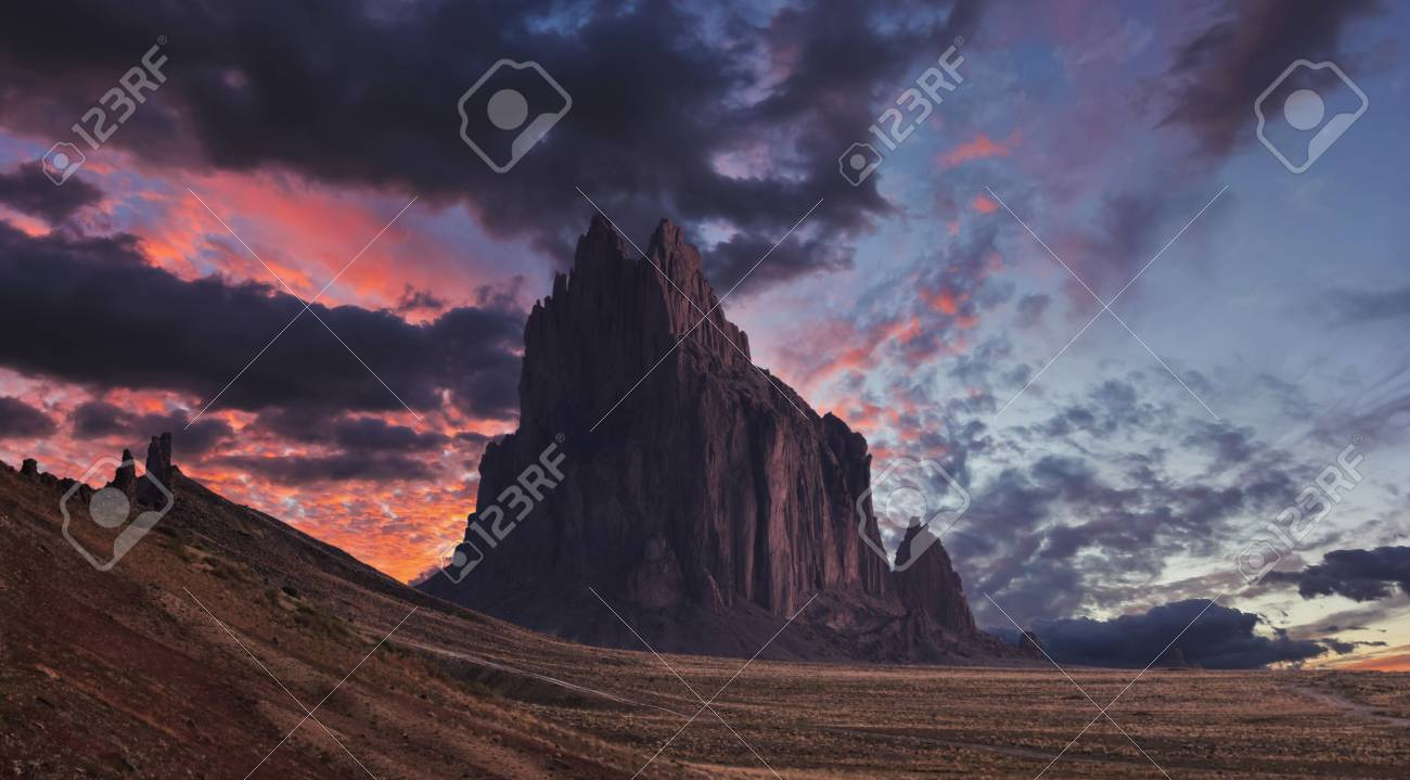 A Shiprock Landscape Against a Breathtaking Twilight Sky, New Mexico, on the Navajo Reservation, west of the town of Shiprock. - 91243099