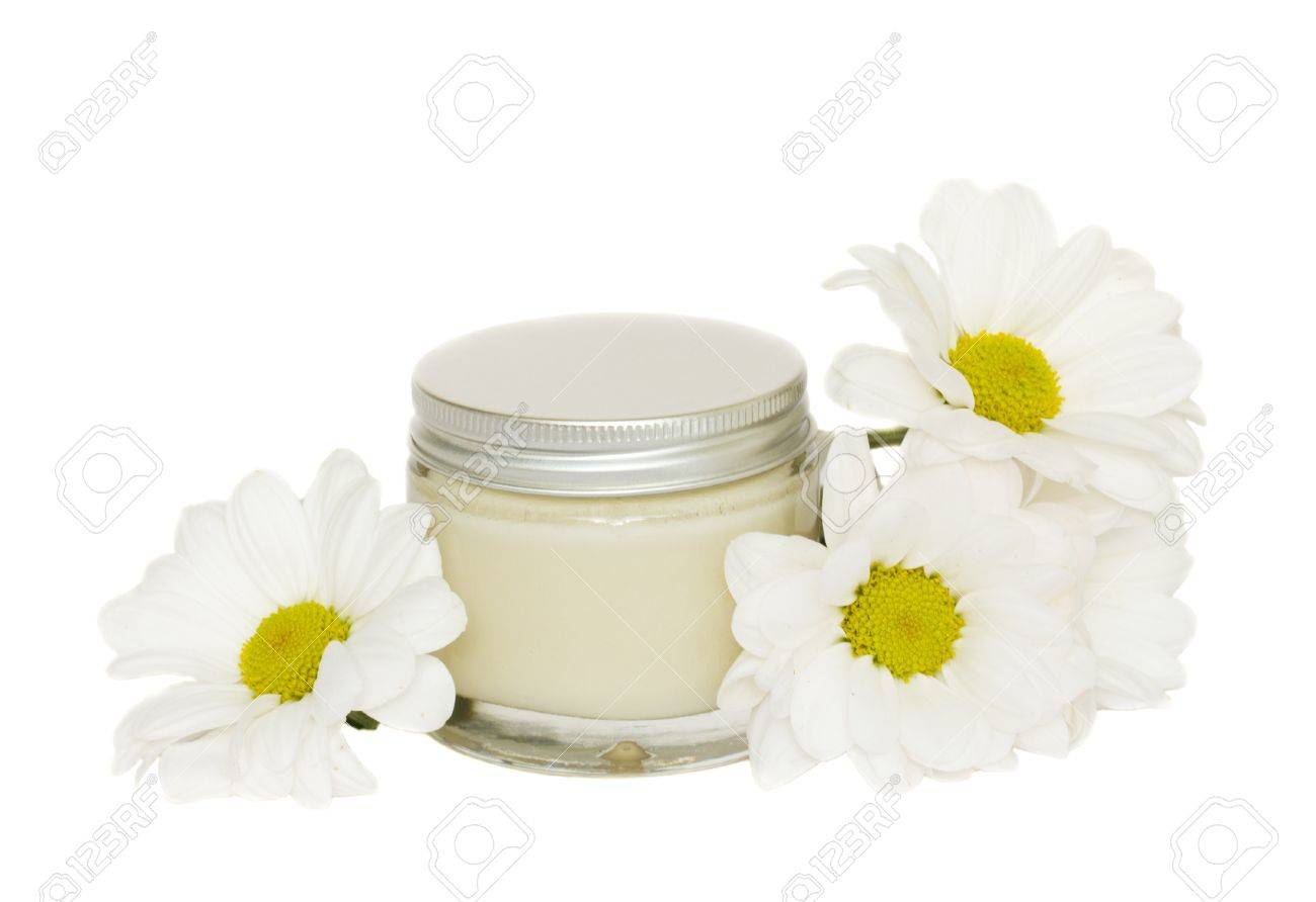 jar with cream and camomile Stock Photo - 10754045