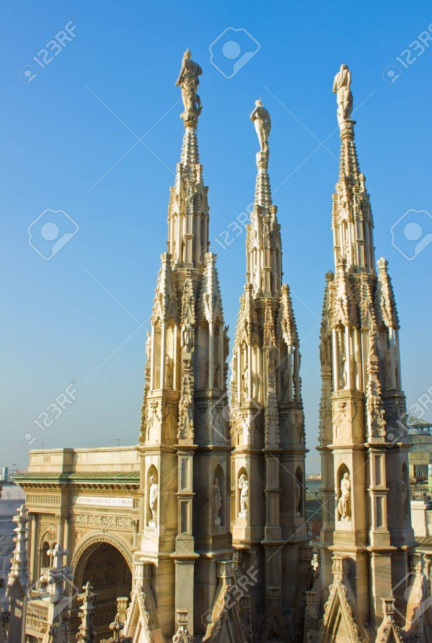 Lovely Gothic Spires On Roof Of Duomo (cathedral), Milan, Italy Stock Photo