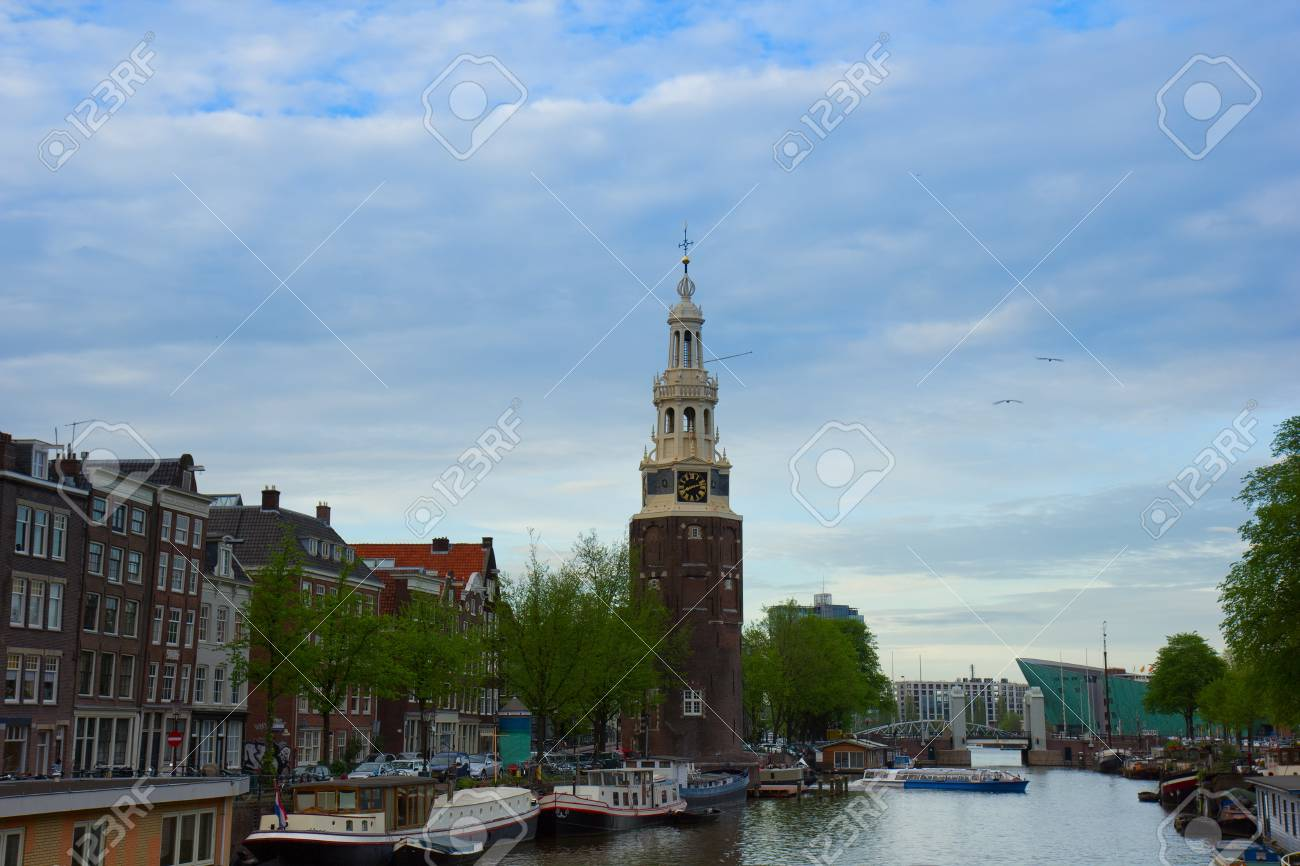 Amsterdam city center with the Montelbaans tower, Netherlands Stock Photo - 13775239
