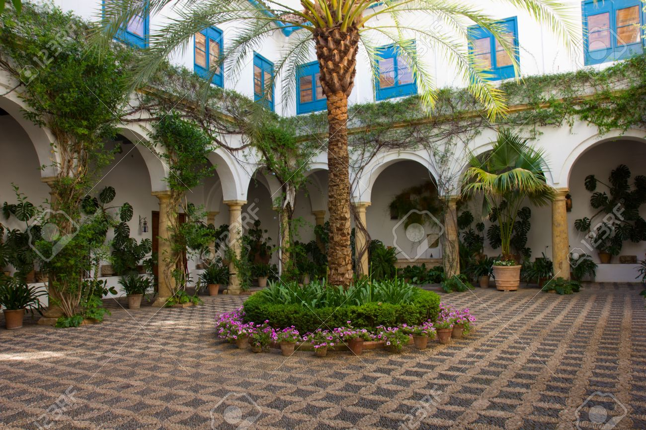 Perfect Spanish Patio: Courtyard Patio Of A Typical House In Cordoba, Spain
