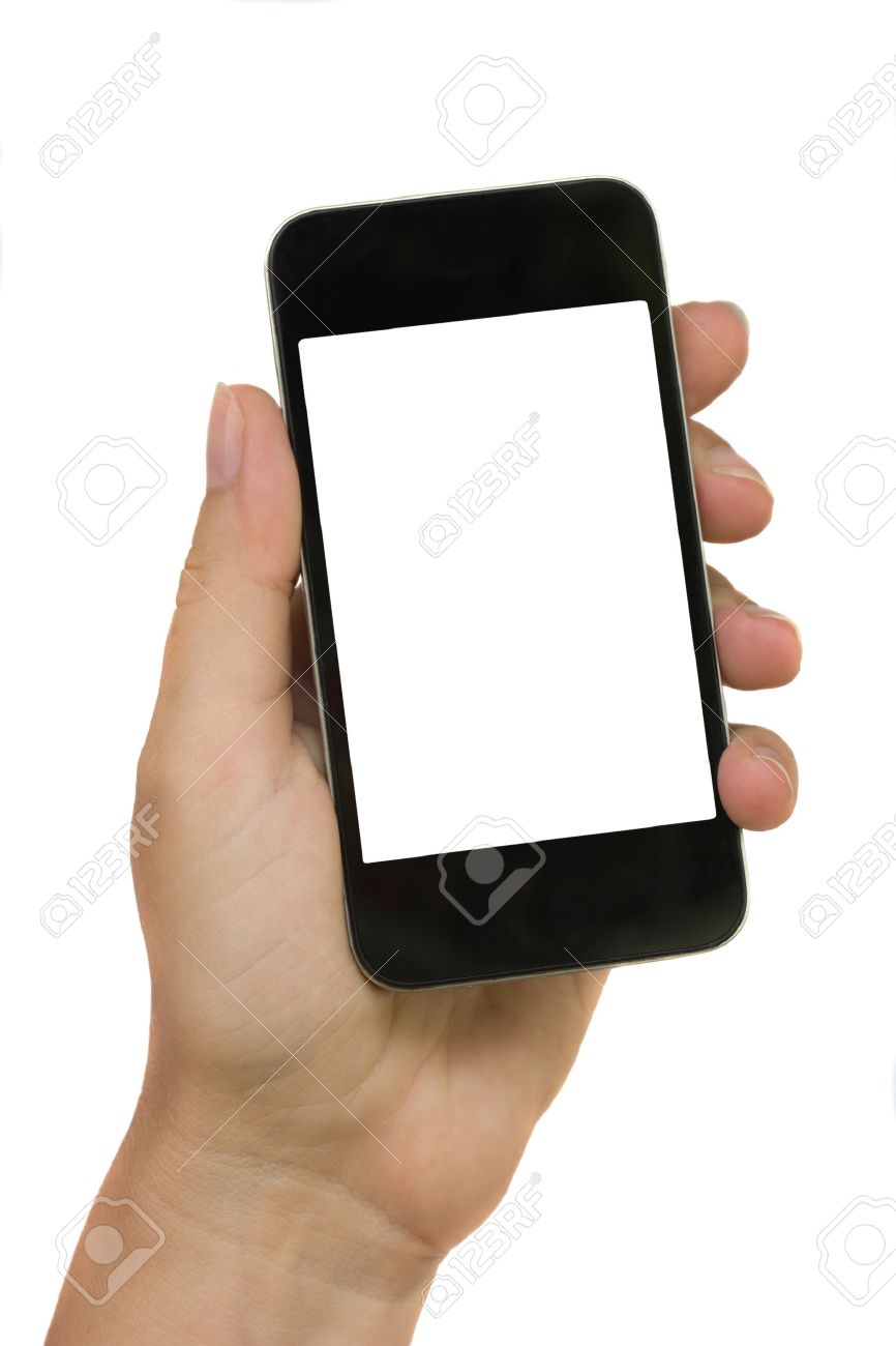 hand holding modern phone isolated on white background with copy space Stock Photo - 14332613