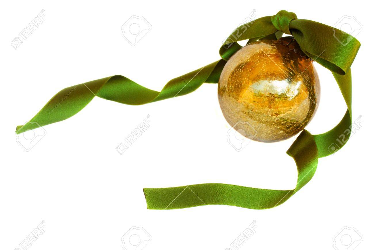 Golden Christmas ball isolated on white background Stock Photo - 15131580