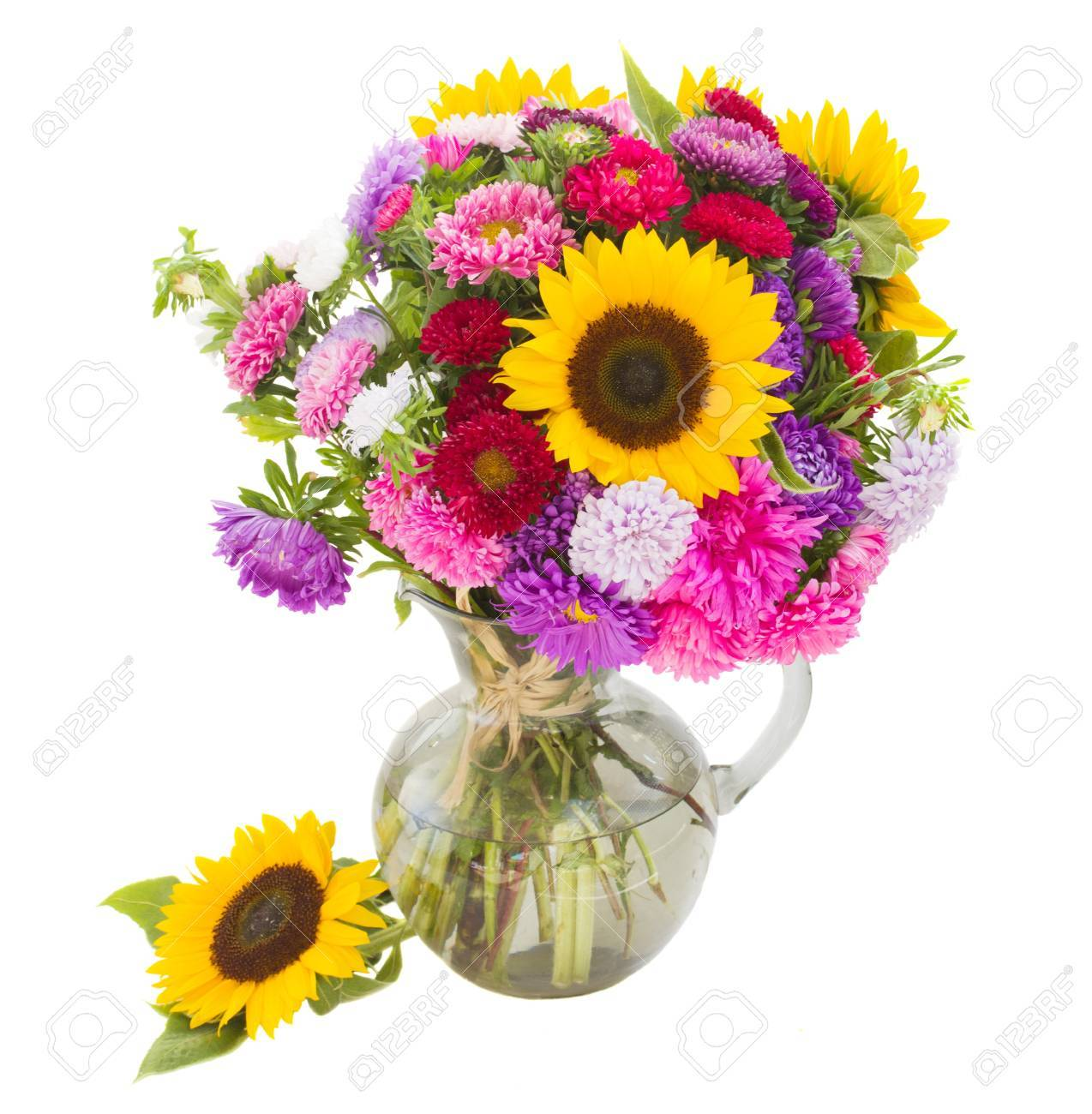 Bouquet Of Autumn Flowers In Vase Isolated On White Background Stock