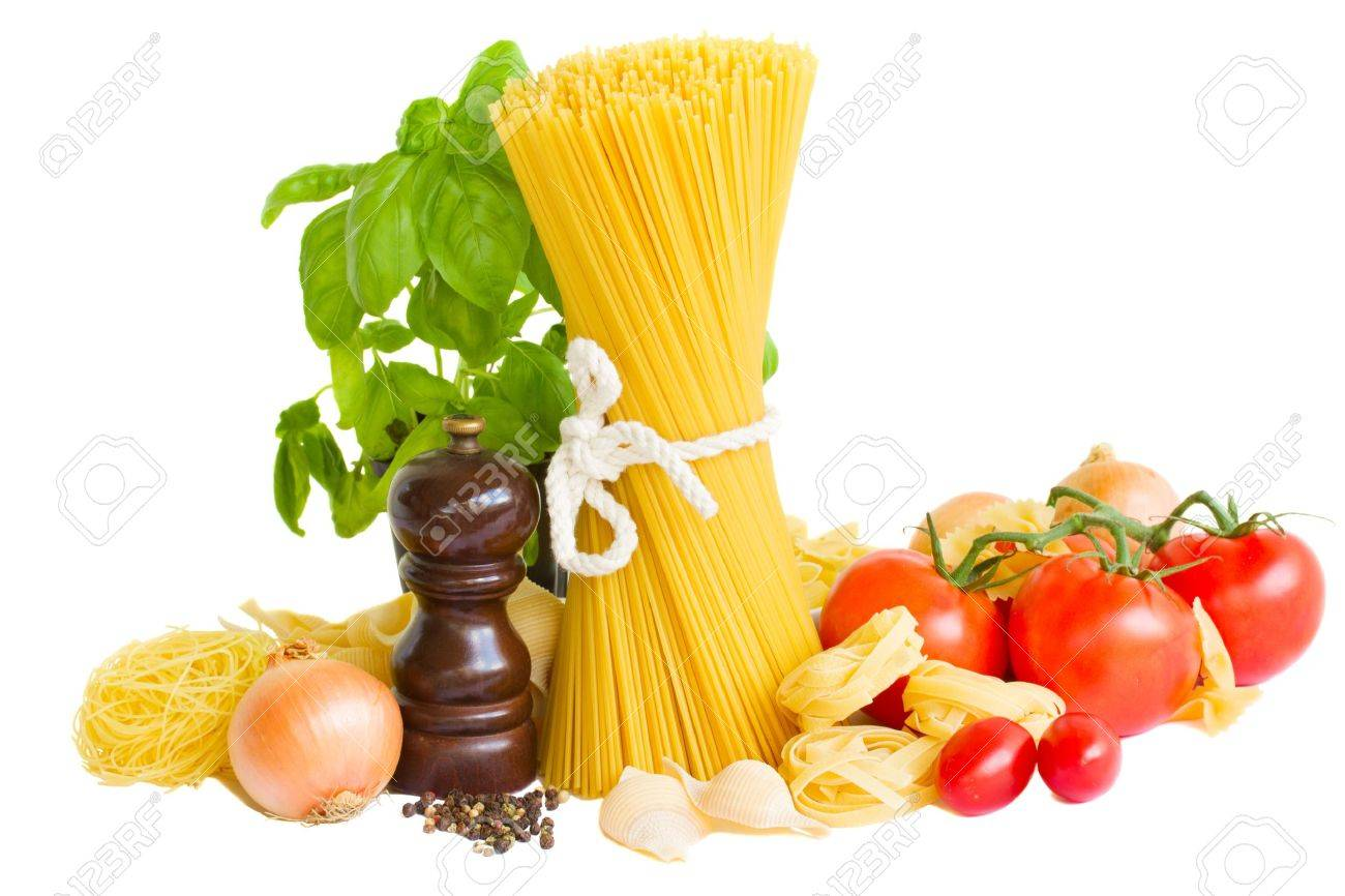 ingredients for italian pasta isolated on white Stock Photo - 15425265