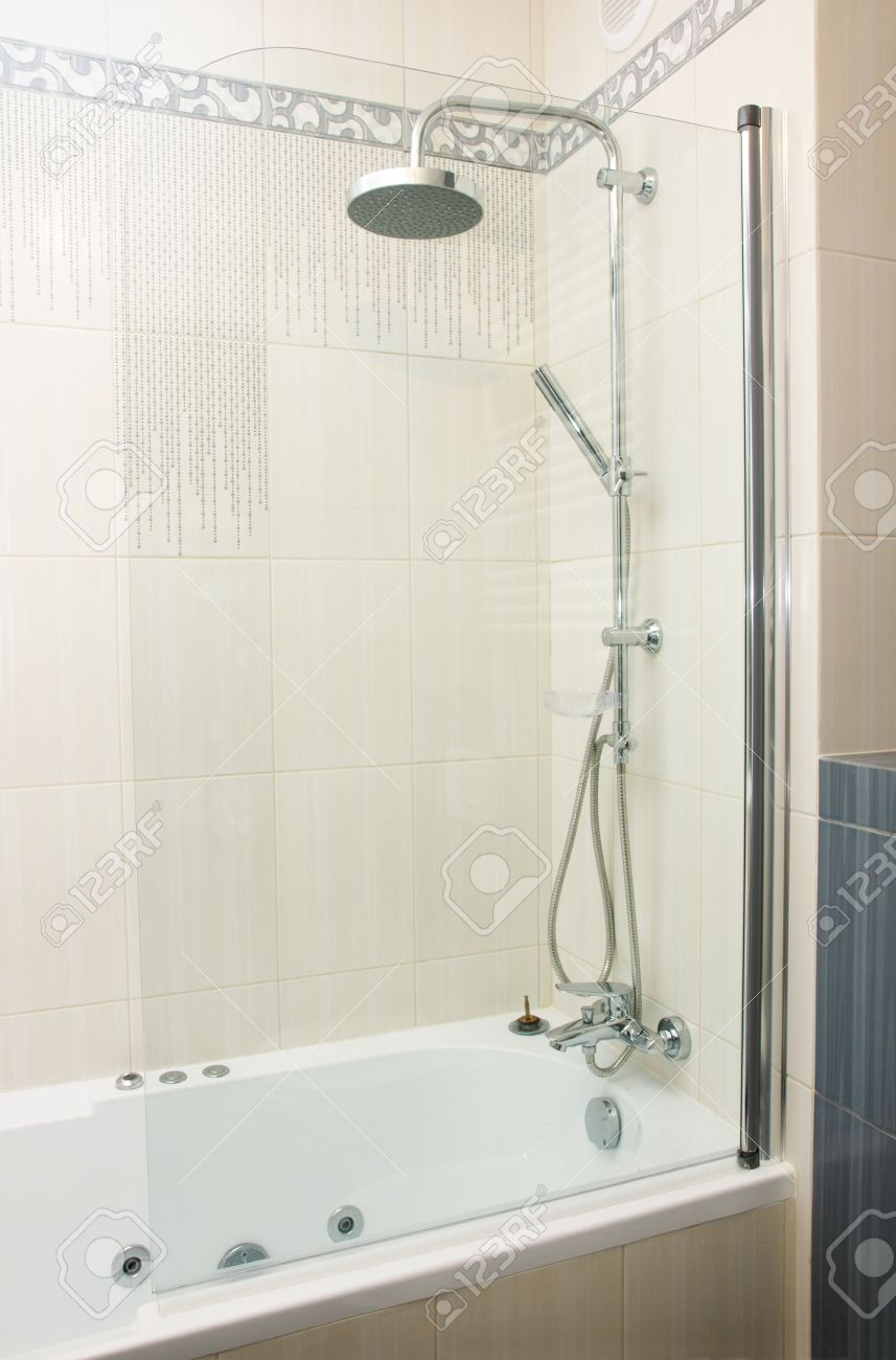 Shower In Modern Gray And White Bathroom Stock Photo, Picture And ...