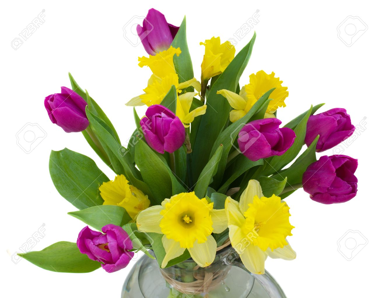 Bouquet Of Spring Flowers - Purple Tulips And Yellow Daffodils Stock ...