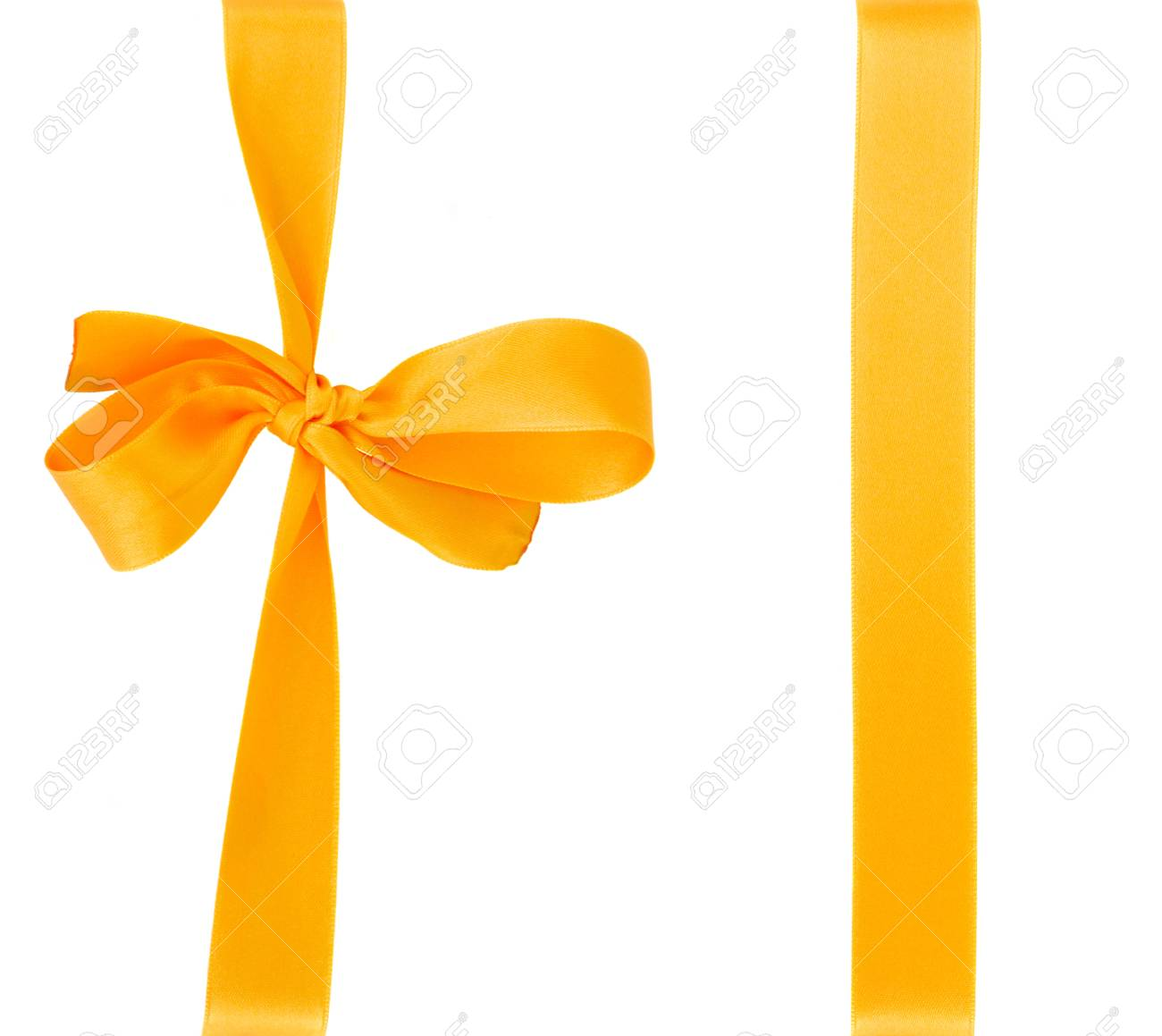 yellow silk bow isolated on white background Stock Photo - 18048458
