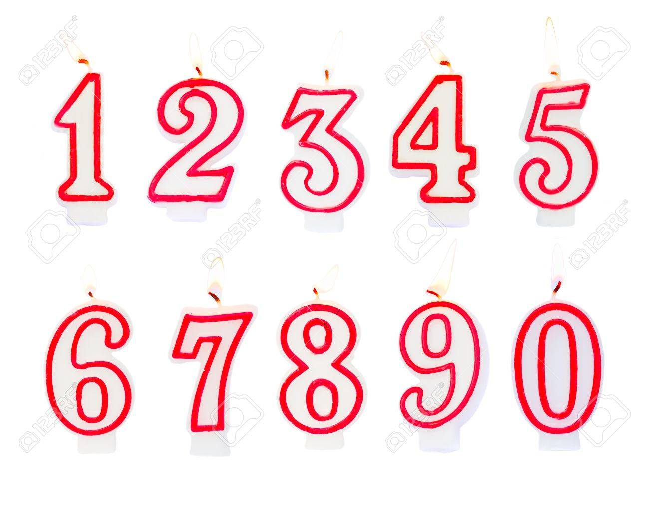 Burning Birthday Candles Numbers Isolated On White Background Stock Photo
