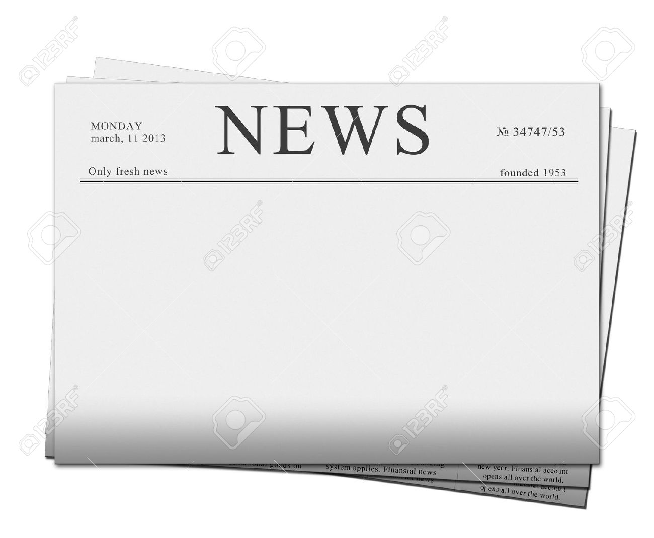 pile of blank newspapers isolated on white background Stock Photo - 18388123