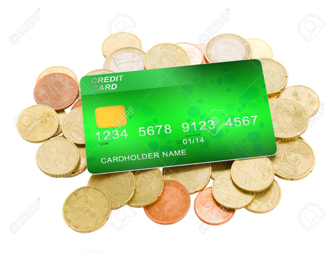 credit card on pile of euro coins isolated on white background Stock Photo - 18462616