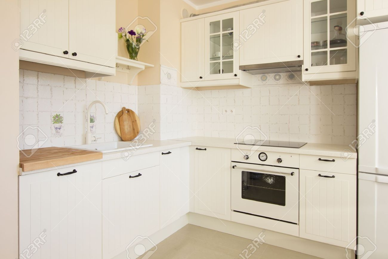 White Empty Rustic Kitchen In Antique Style Stock Photo