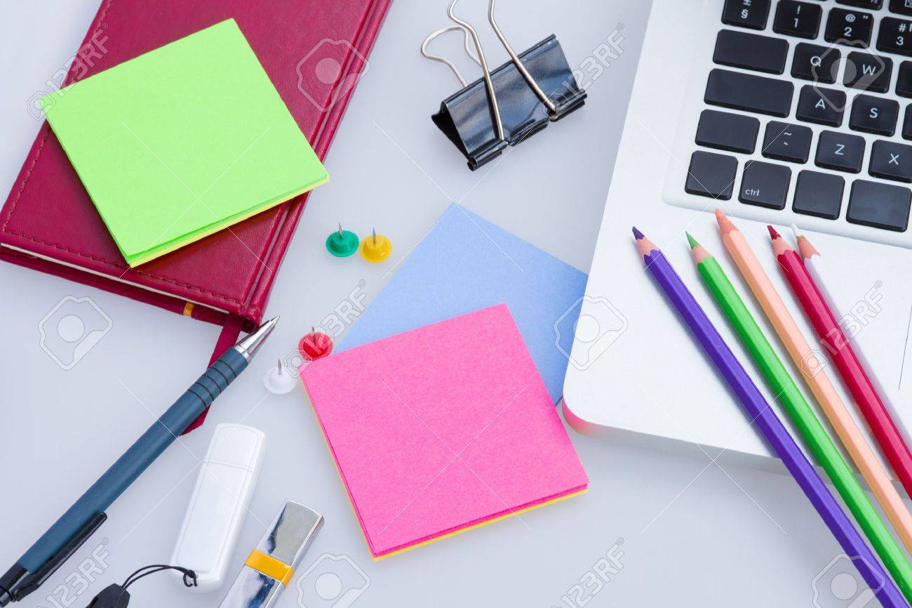 Set of office supply with laptop on a table Stock Photo - 19668086