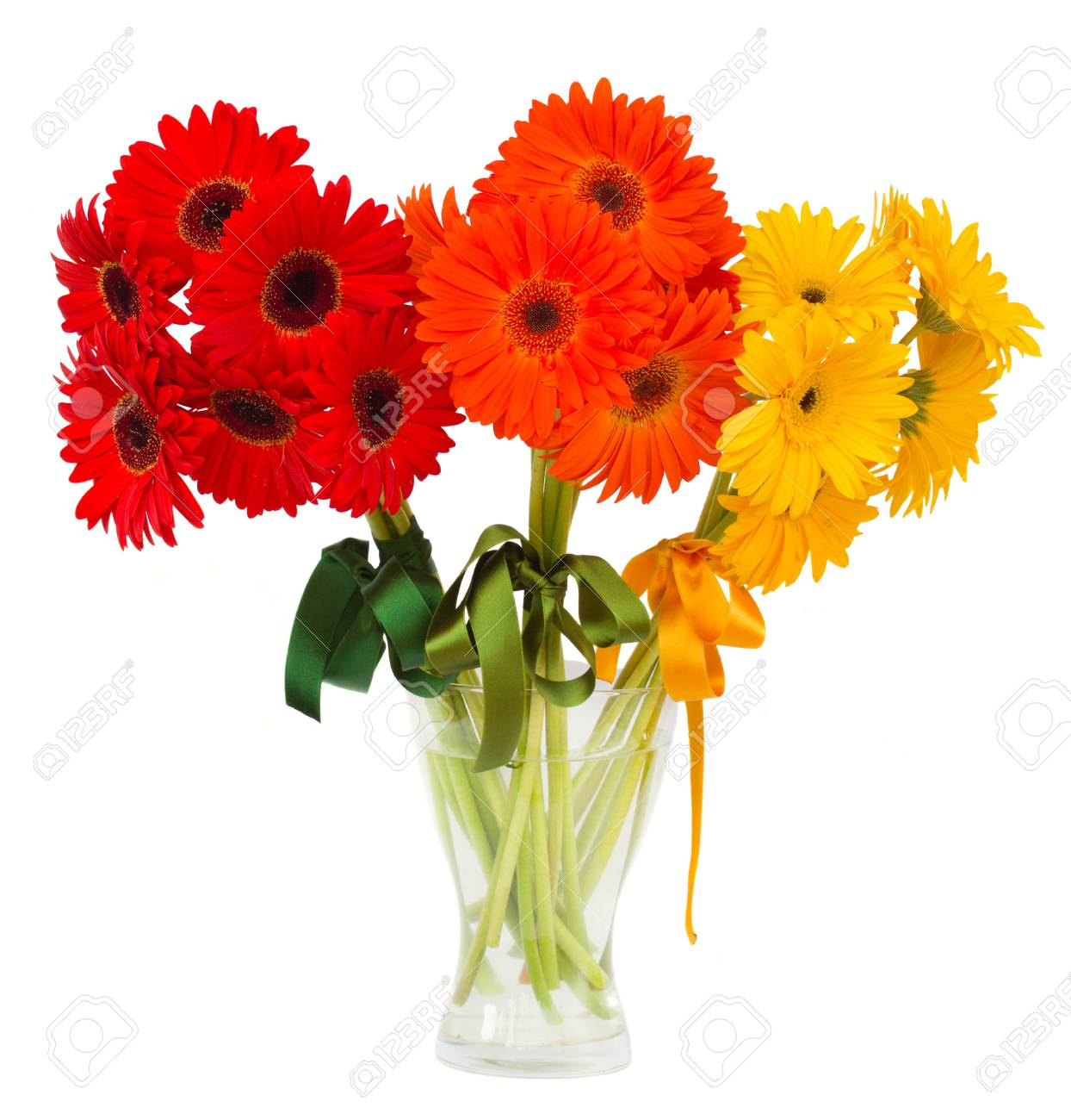 gerbera flowers bouquets in vase  isolated on white background Stock Photo - 21610410