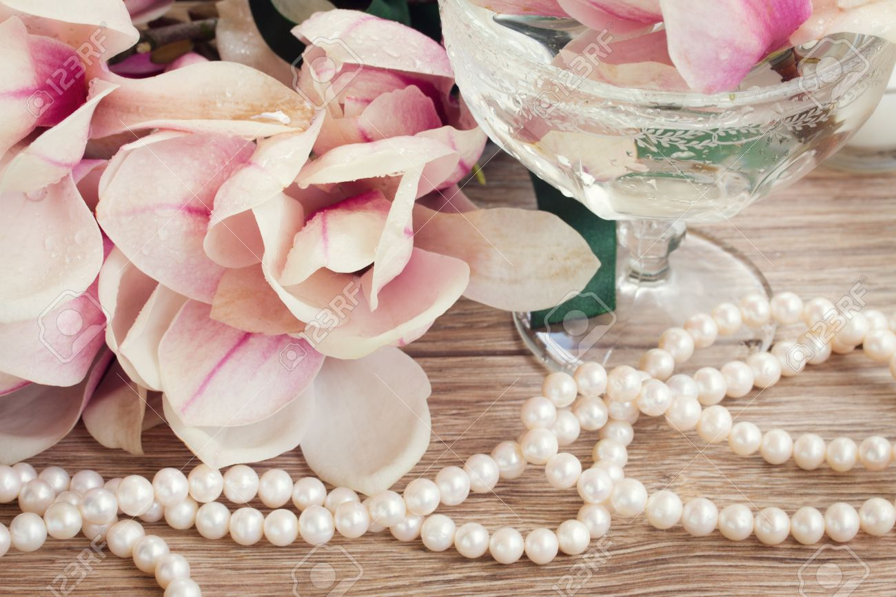 Wedding accessories pearls flowers pearls - Wedding Decorations Pink Magnolia Flowers With Strand Of Pearls Stock Photo 28430764