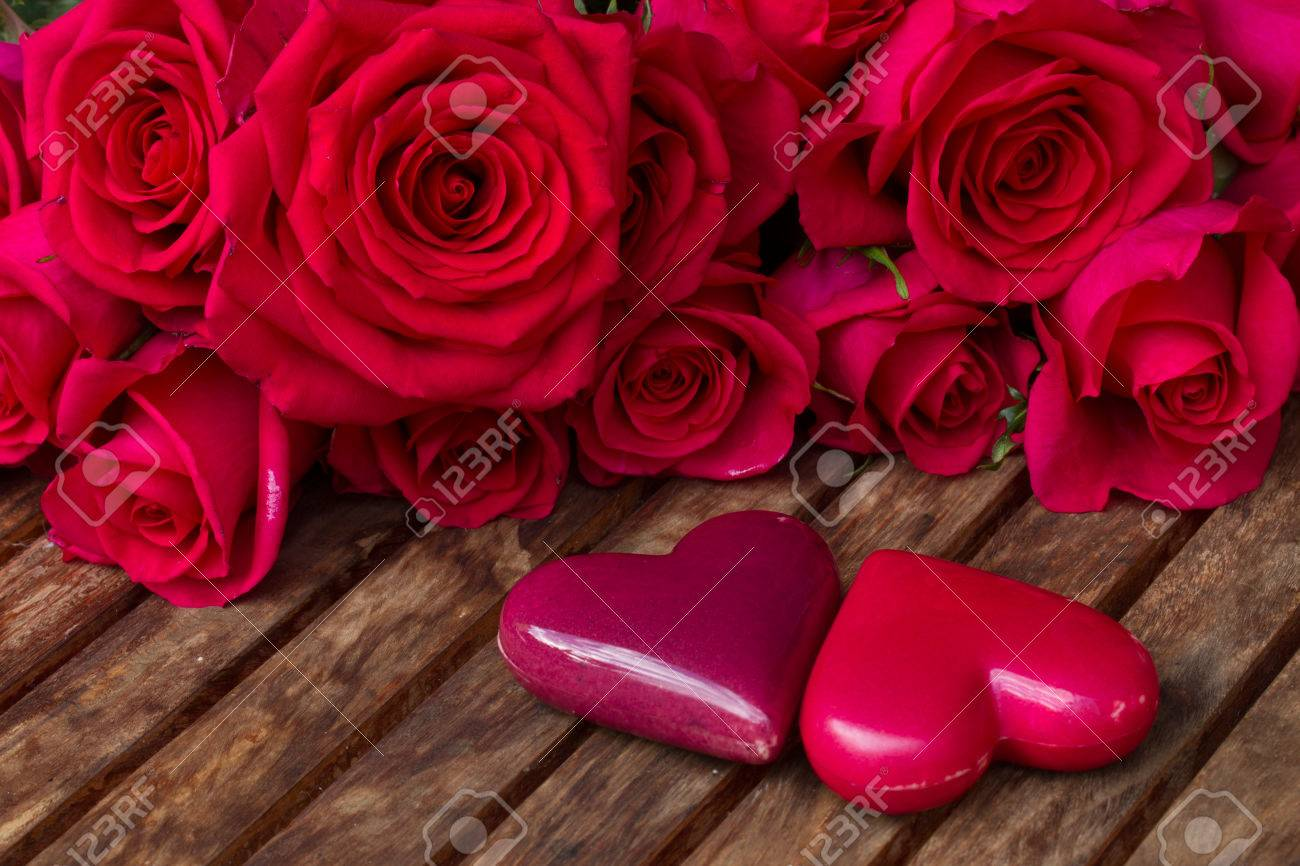 Roses pink and hearts