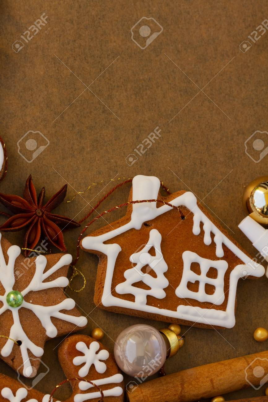 Christmas Gingerbread House Cookies And Decorations On Cooking