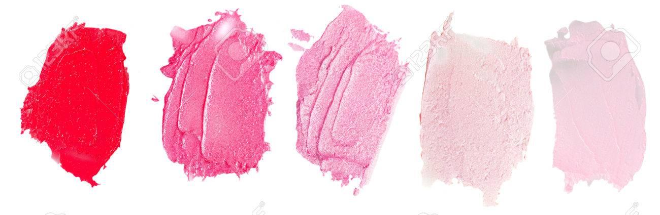 Set of lipsticks smears lipstick isolated on white background - 50272938