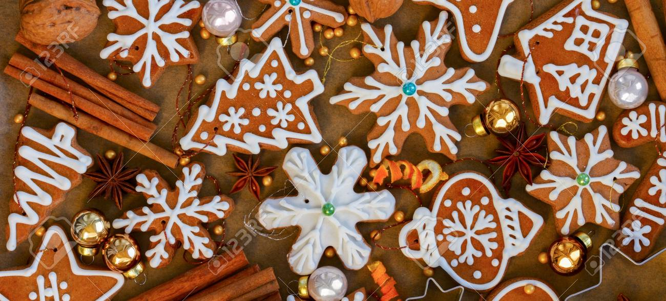 Wood Christmas Decorations.Christmas Gingerbread Cookies With Christmas Decorations On Wood