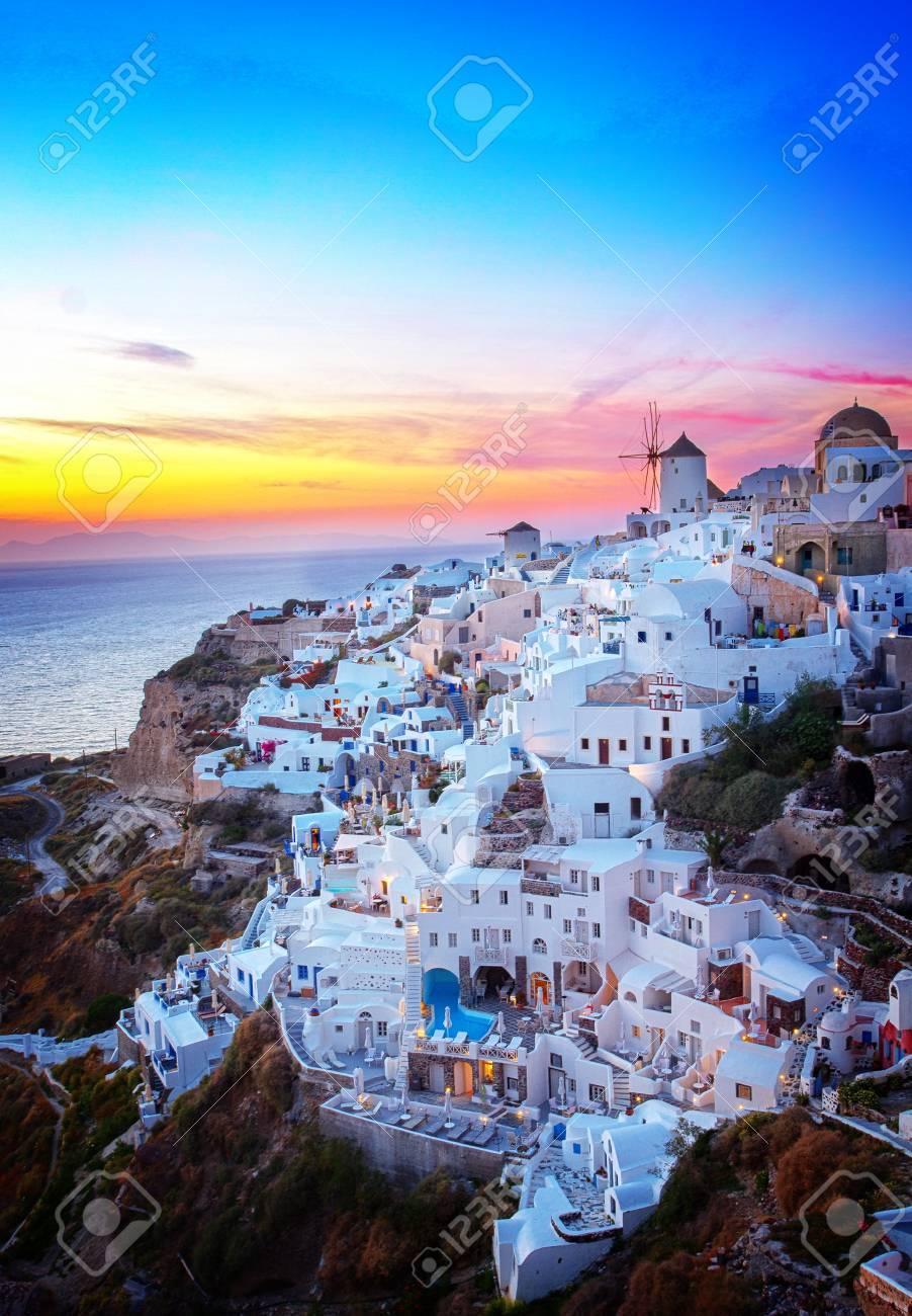 Oia village at colorful sunset, Santorini Greece, retro toned - 68355594