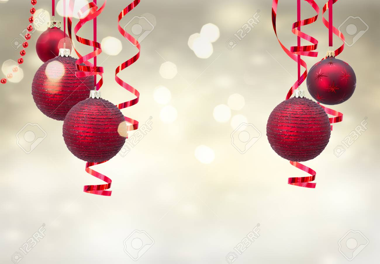 Christmas Ball Garland.Red Christmas Balls Garland On Festive Golden Background