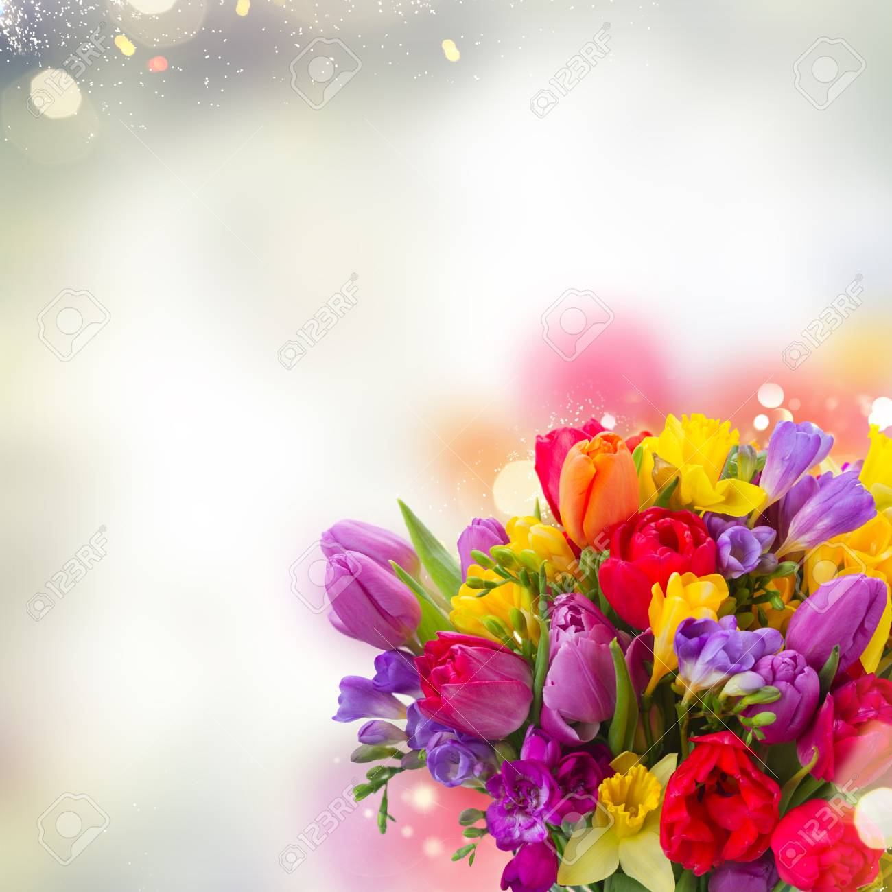 Bouquet Of Bright Spring Flowers Close Up Over Gray Bokeh Background