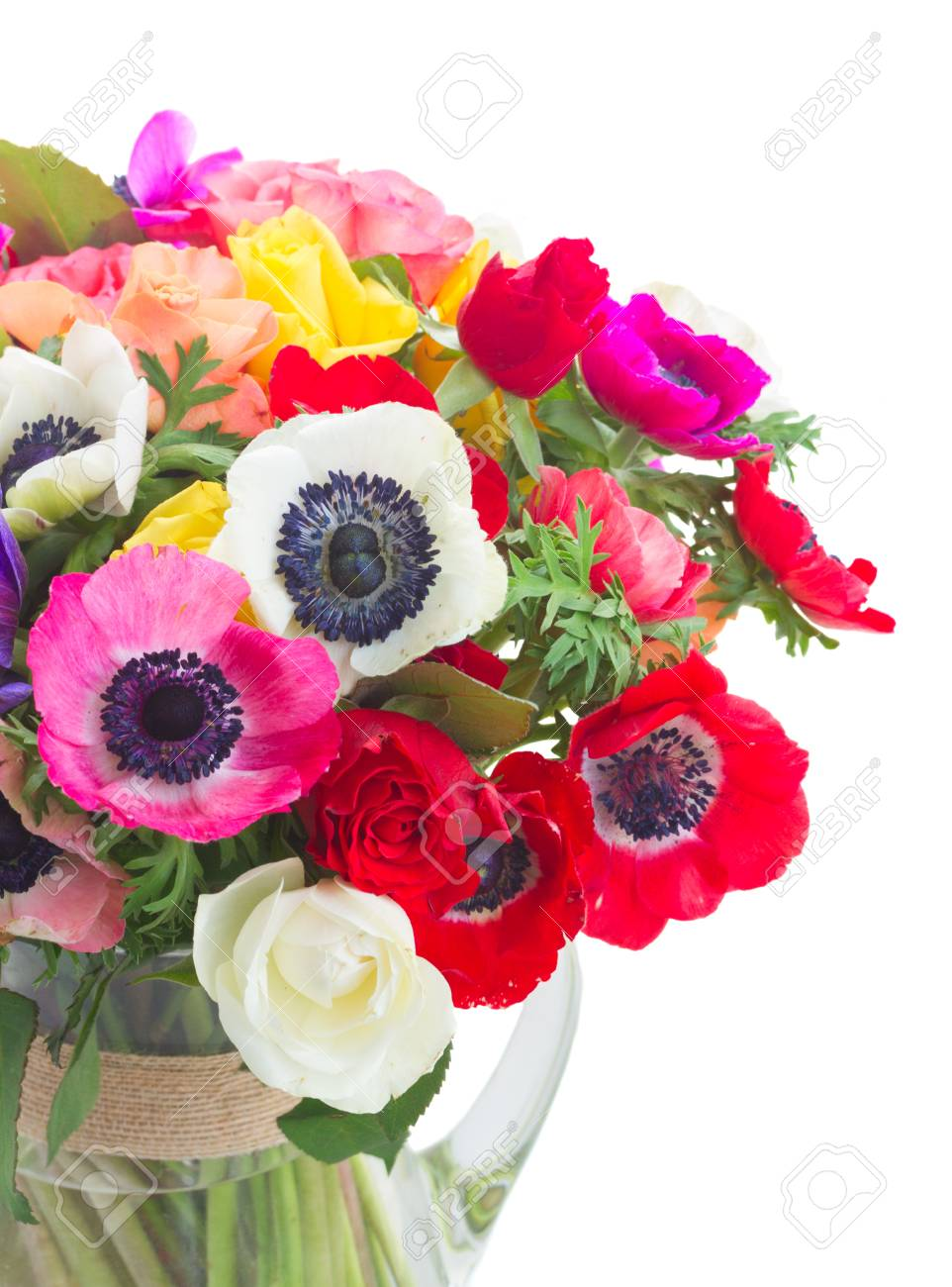 Fresh Colorful Anemones And Roses Flowers Close Up Bouqet In.. Stock ...