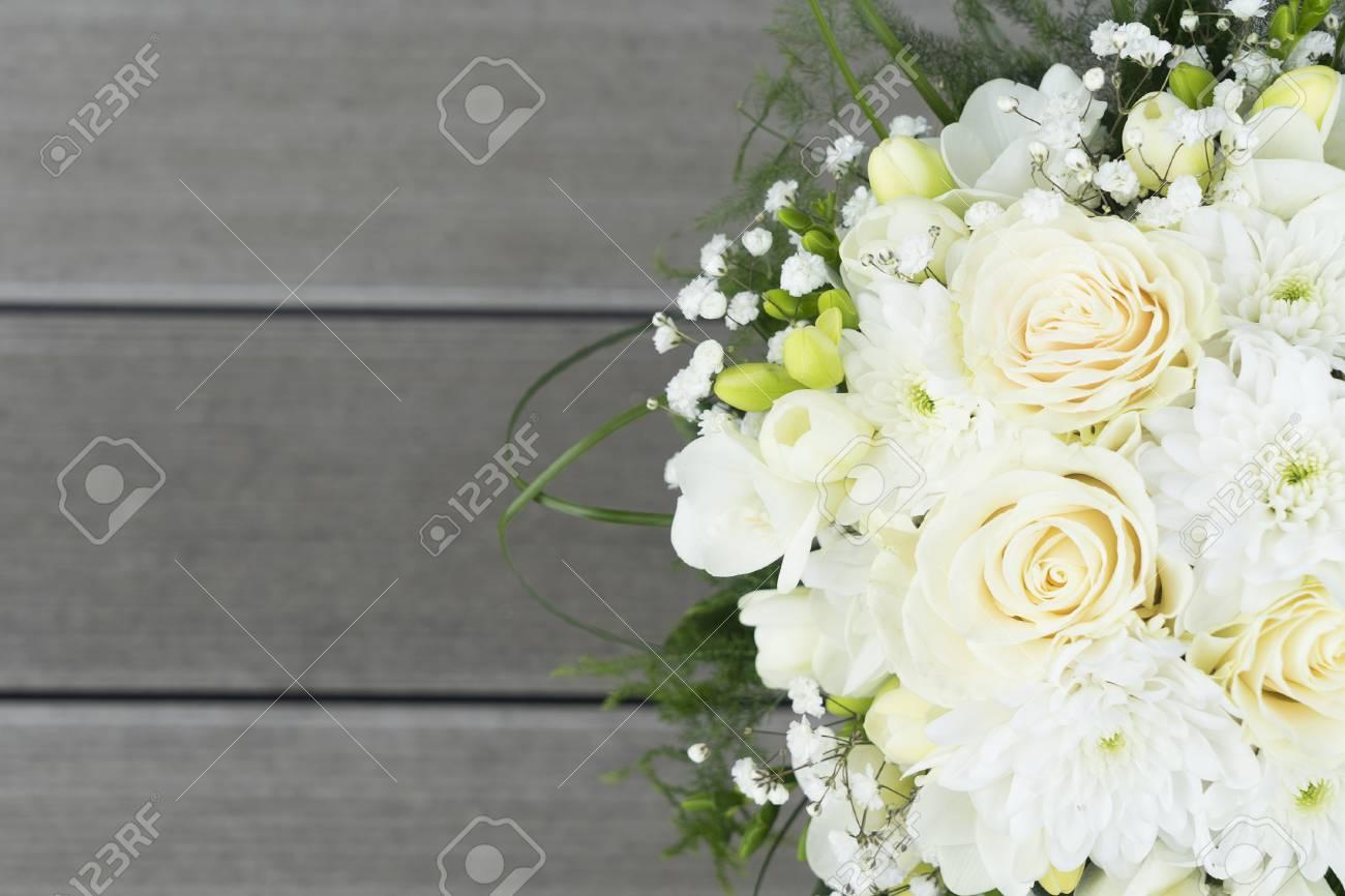 White Fresh Roses Freesia And Mum Flowers Wedding Bouquet On