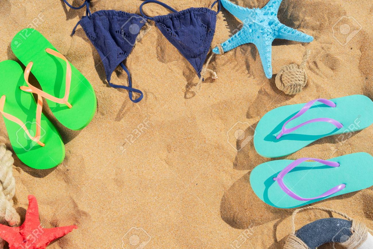 Summer Beach Scene - Frame On Sand With Sandals, Copy Space On ...