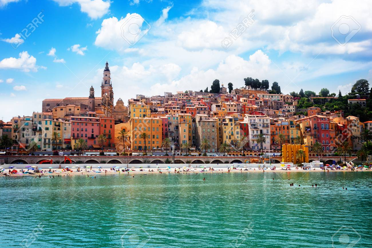 colorful houses of Menton old town hill waterfront, France, retro toned - 81360128