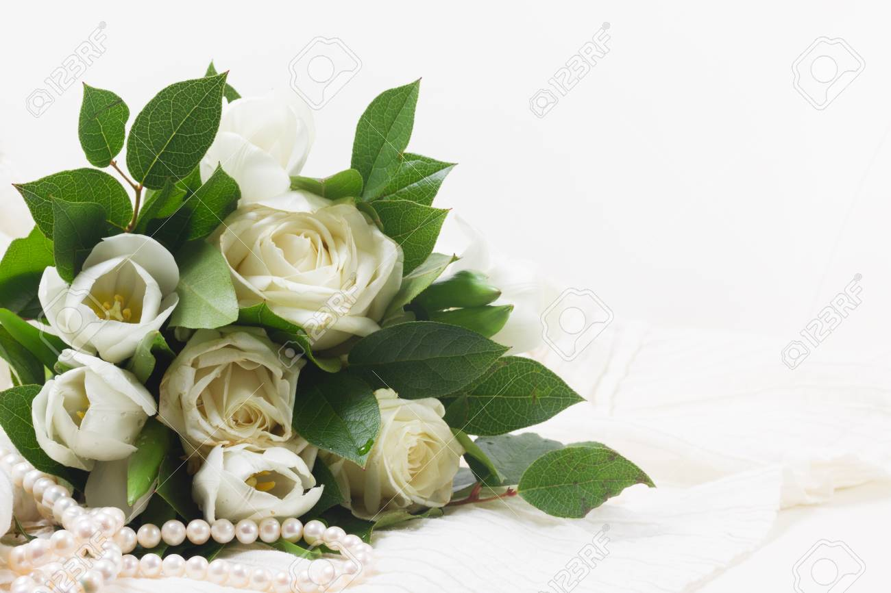 White Fresh Rose And Tulips Flowers With Green Leaves On White