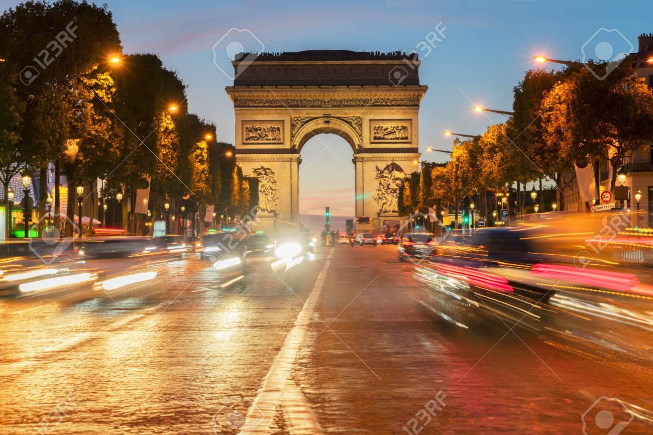 Arc de Triomphe at night, Paris, France - 88590007