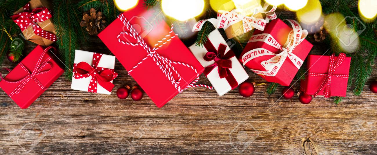 Christmas Gift Giving Images.Christmas Gift Giving Concept Christmas Presents In Red And