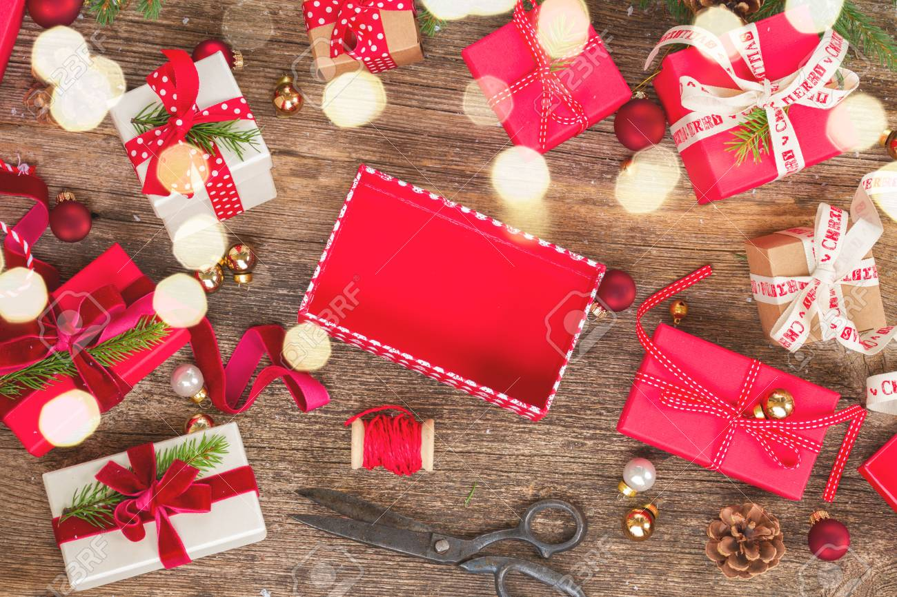 Christmas Gift Giving Images.Christmas Gift Giving Pile Of Wrapped In Red And White Paper