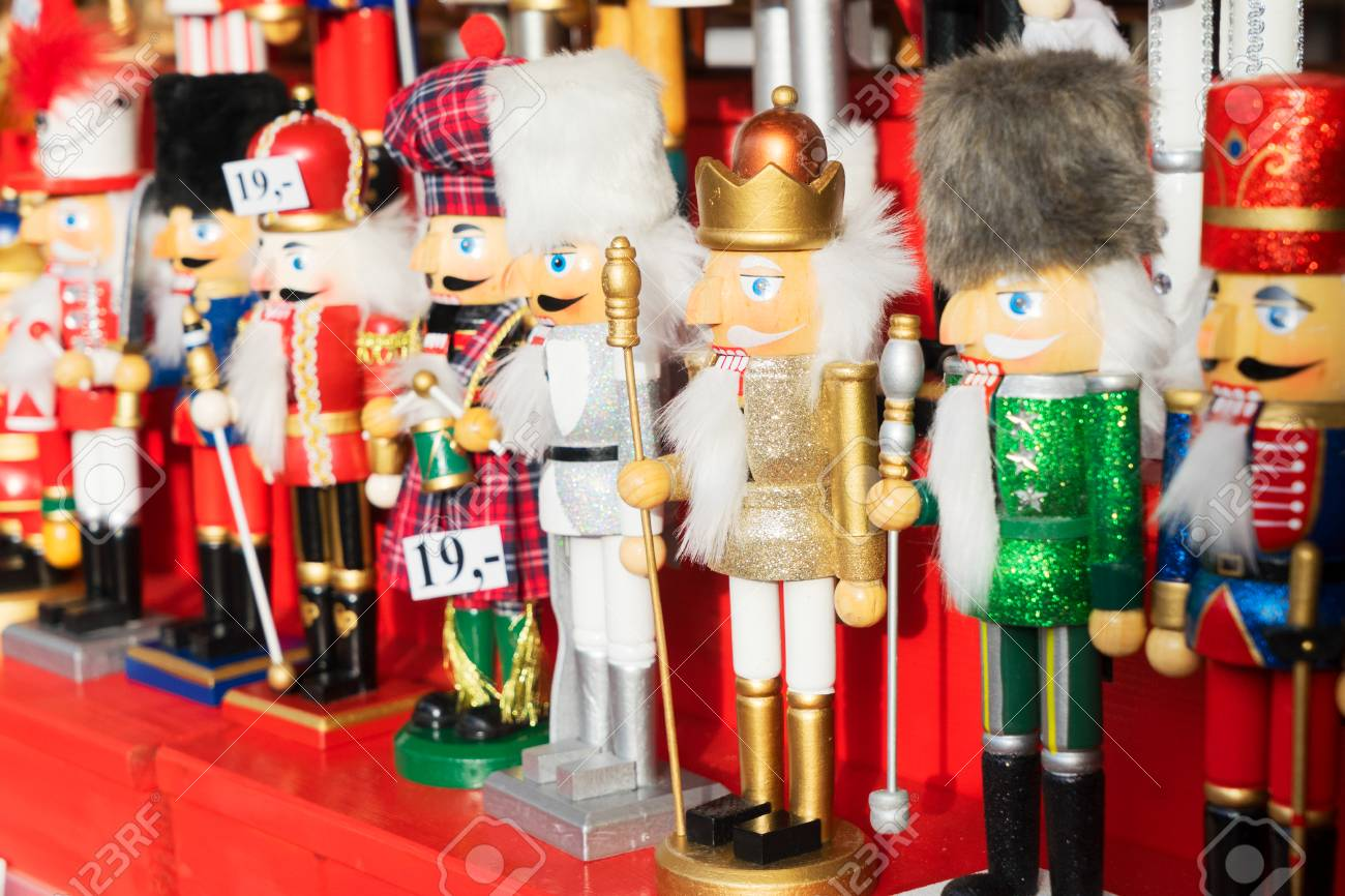 Christmas Market Kiosk Details With Traditional Nutcrackers Stock ...