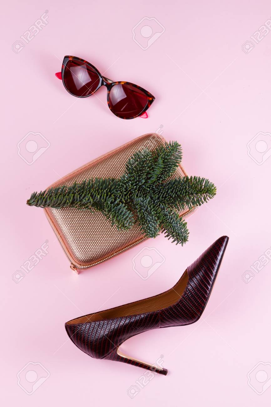 Hight Heel Shoes, Bag And Glasses With Evergreen Tree Twig, Dressing ...