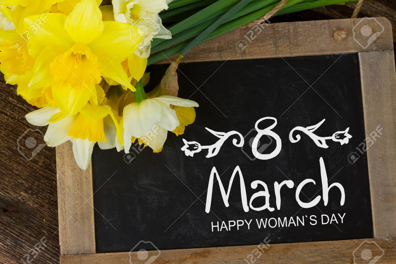 Fresh Spring Daffodils Light And Dark Yellow With 8 March Greetings