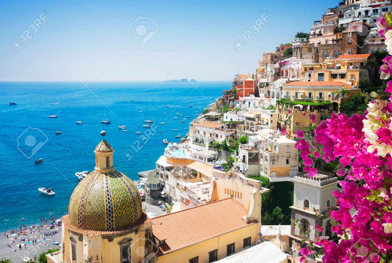view of Positano with flowers - famous old italian resort, Italy - 95764018