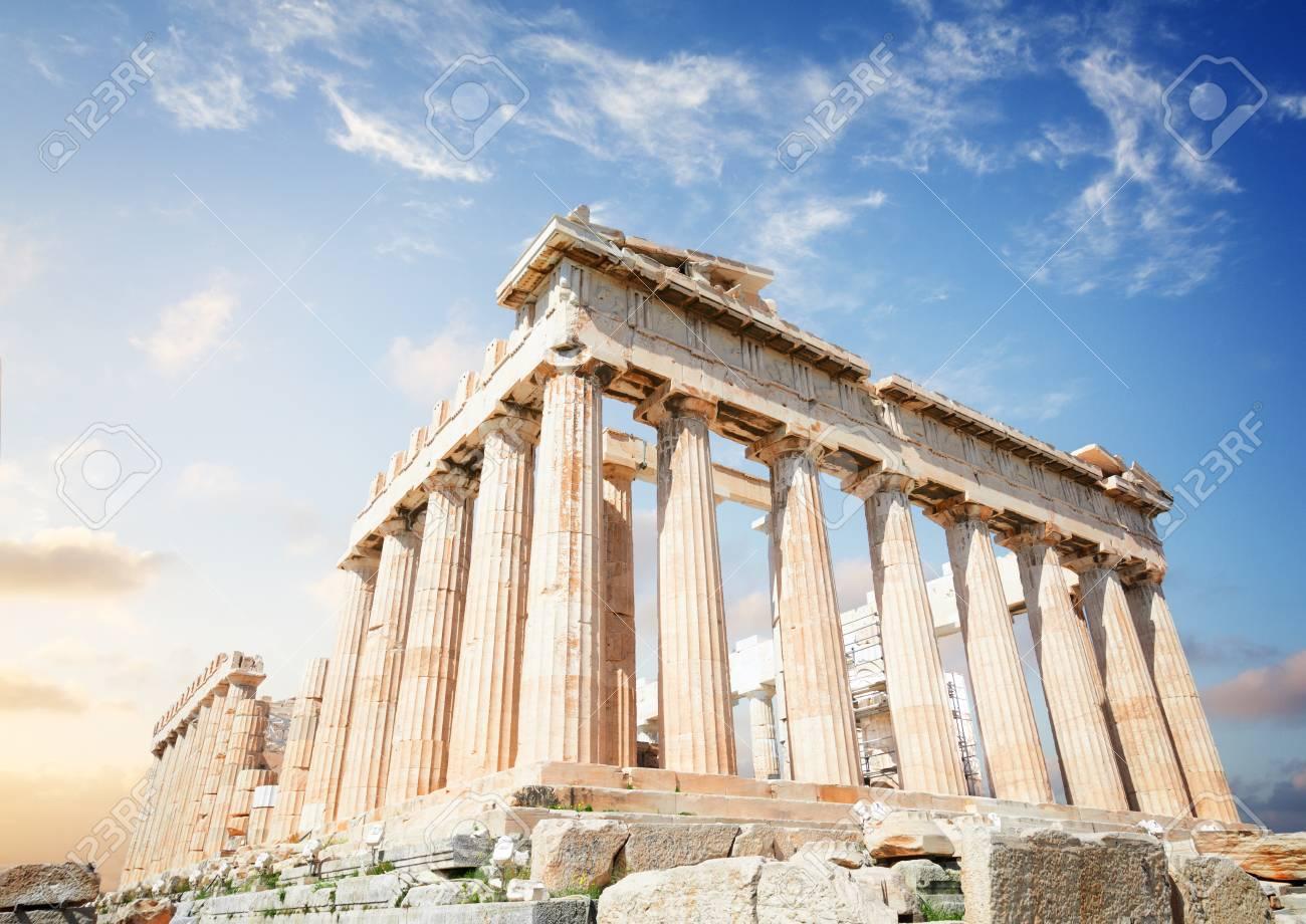 Parthenon temple over sunrise sky background, Acropolis hill, Athens Greece - 97587488