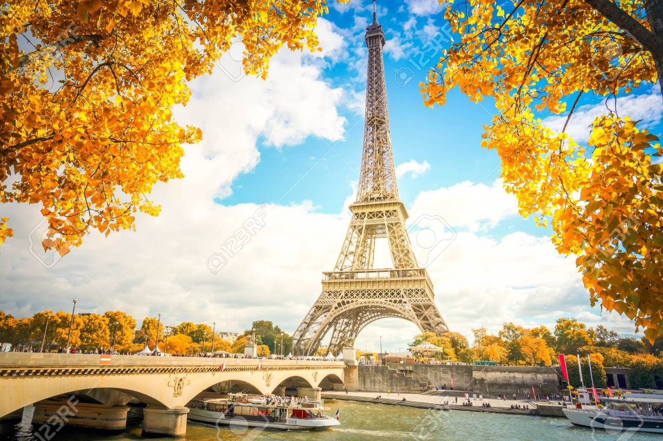 Eiffel Tower and Pont dIena with yellow fall tree, Paris France - 108530366