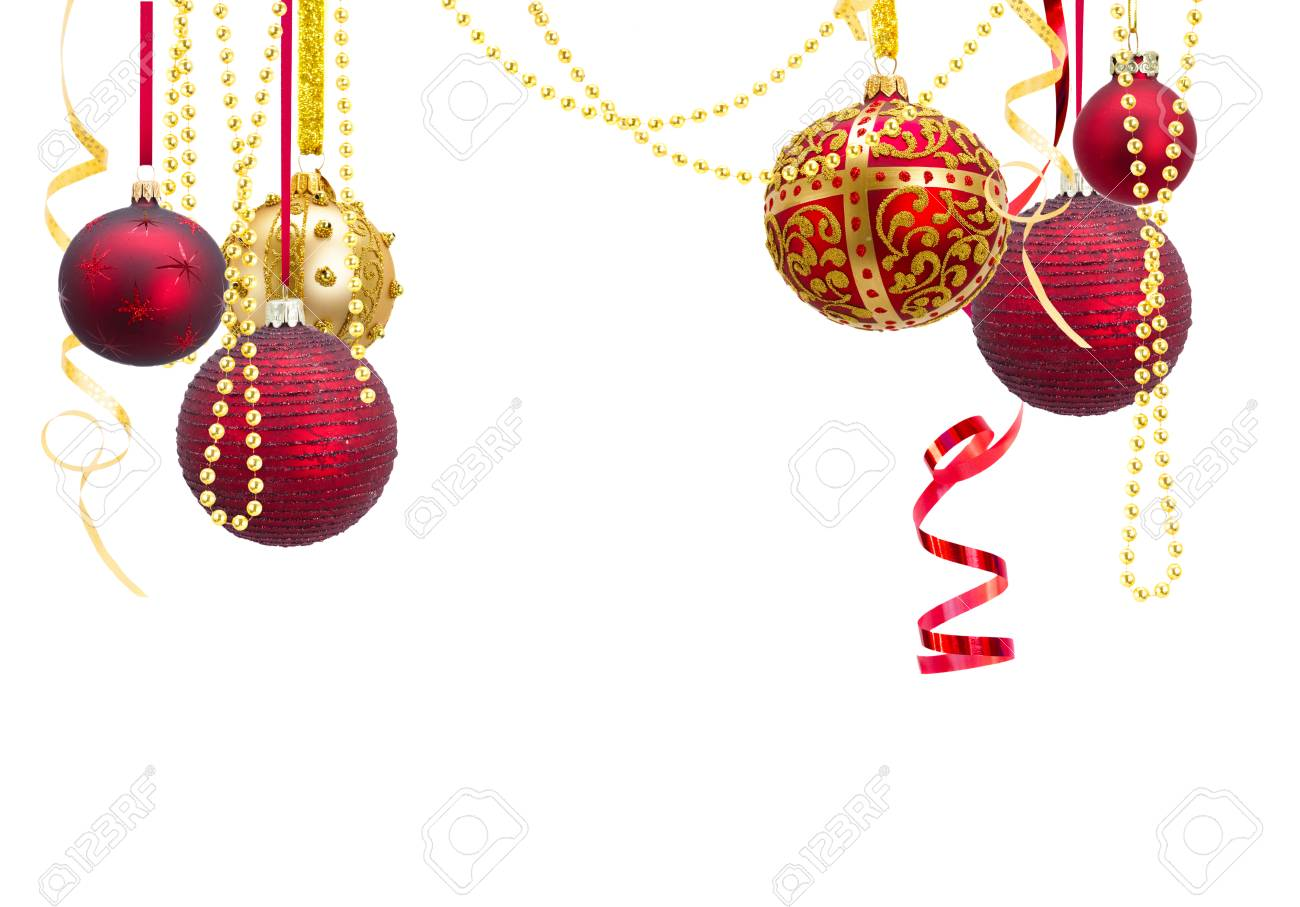 Christmas Ball Garlands.Red And Golden Hanging Christmas Balls With Garlands Isolated