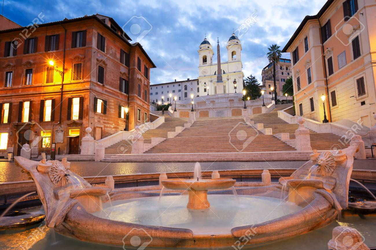 Spanish Steps with flowing boat fountain illuminated at night, Rome, Italy - 124709746