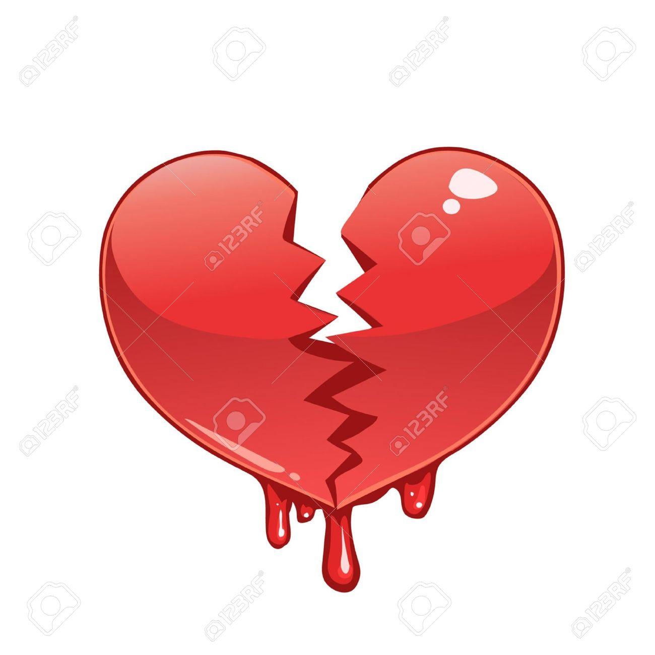 Corazón Roto Y Sangrando Ilustraciones Vectoriales Clip Art