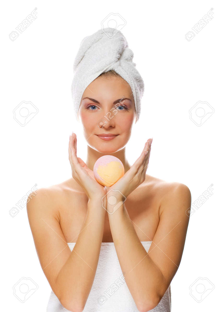 Beautiful young woman with aroma bath ball isolated on white background Stock Photo - 2179843