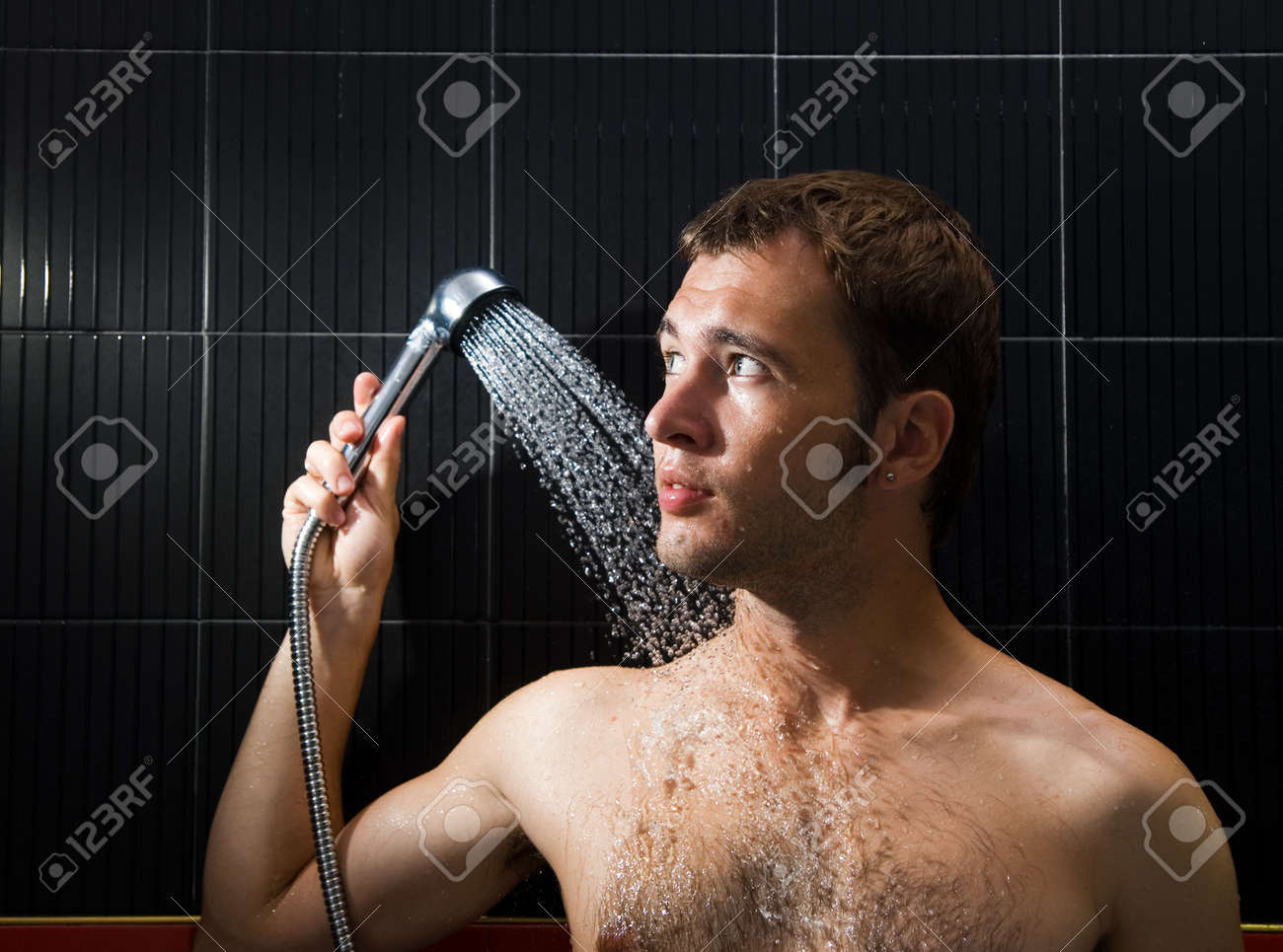 Handsome man in a shower Stock Photo - 2222079