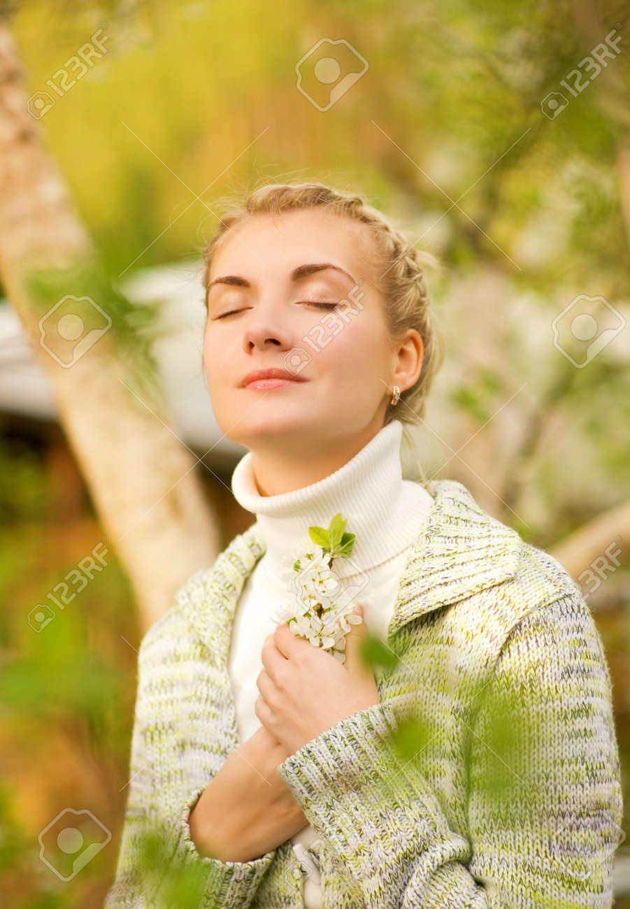 Beautiful young woman dreaming outdoors Stock Photo - 3008756