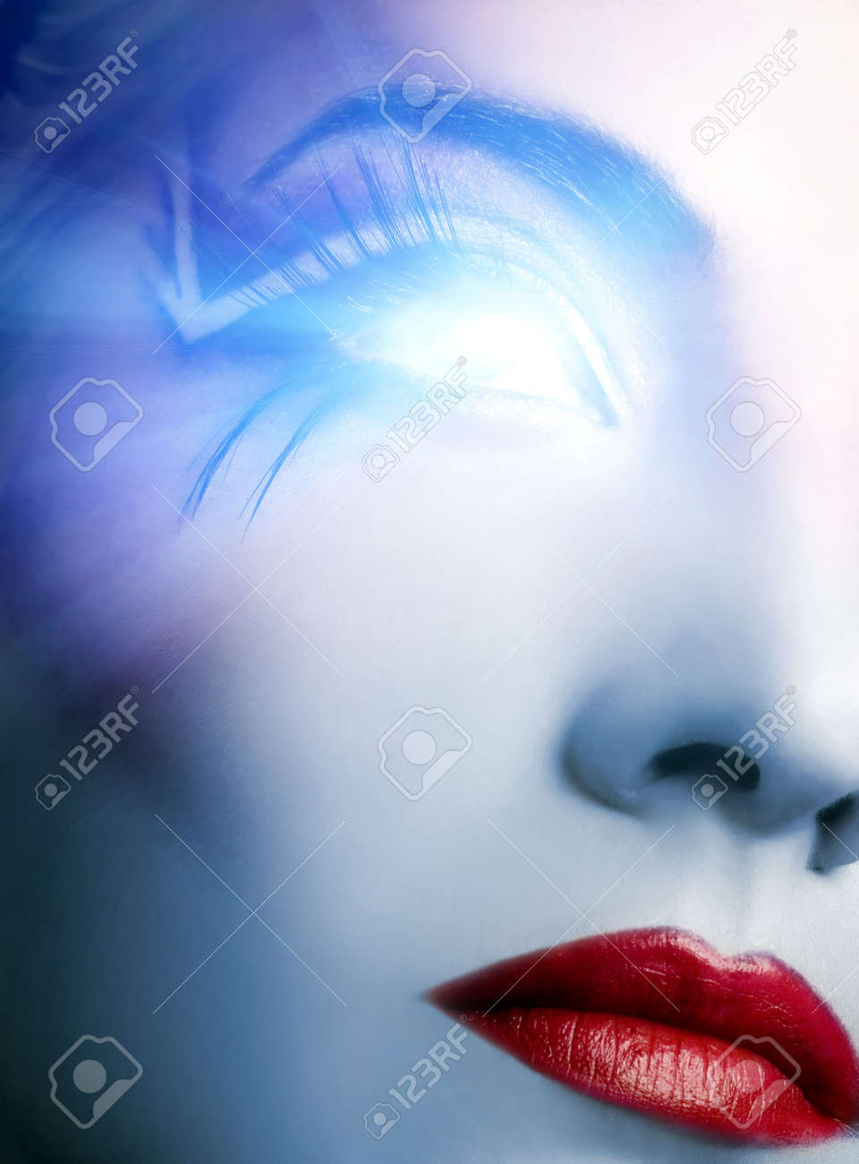 Futuristic cyber face with glowing eye Stock Photo - 3081805