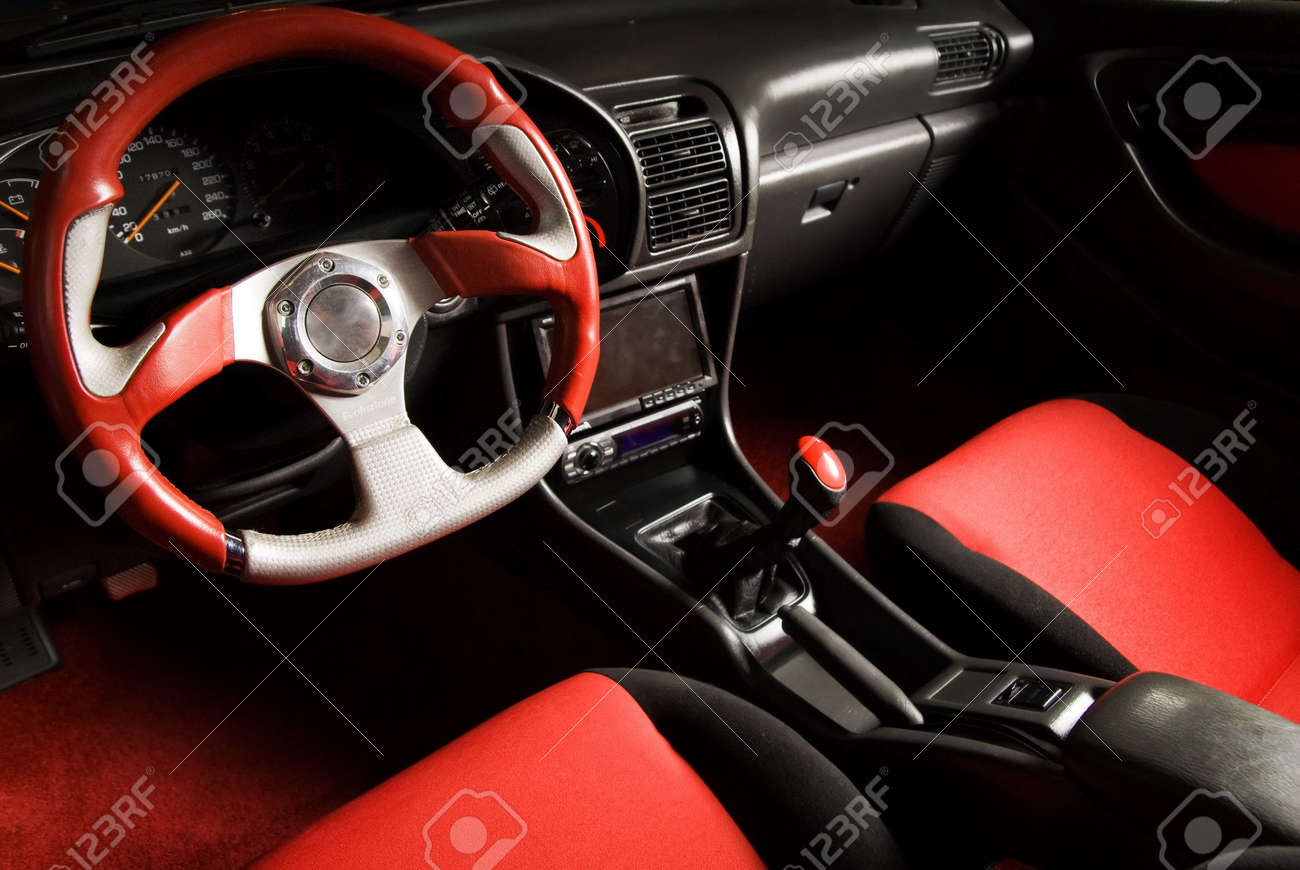 stock photo tuned sport car luxury red velvet interior