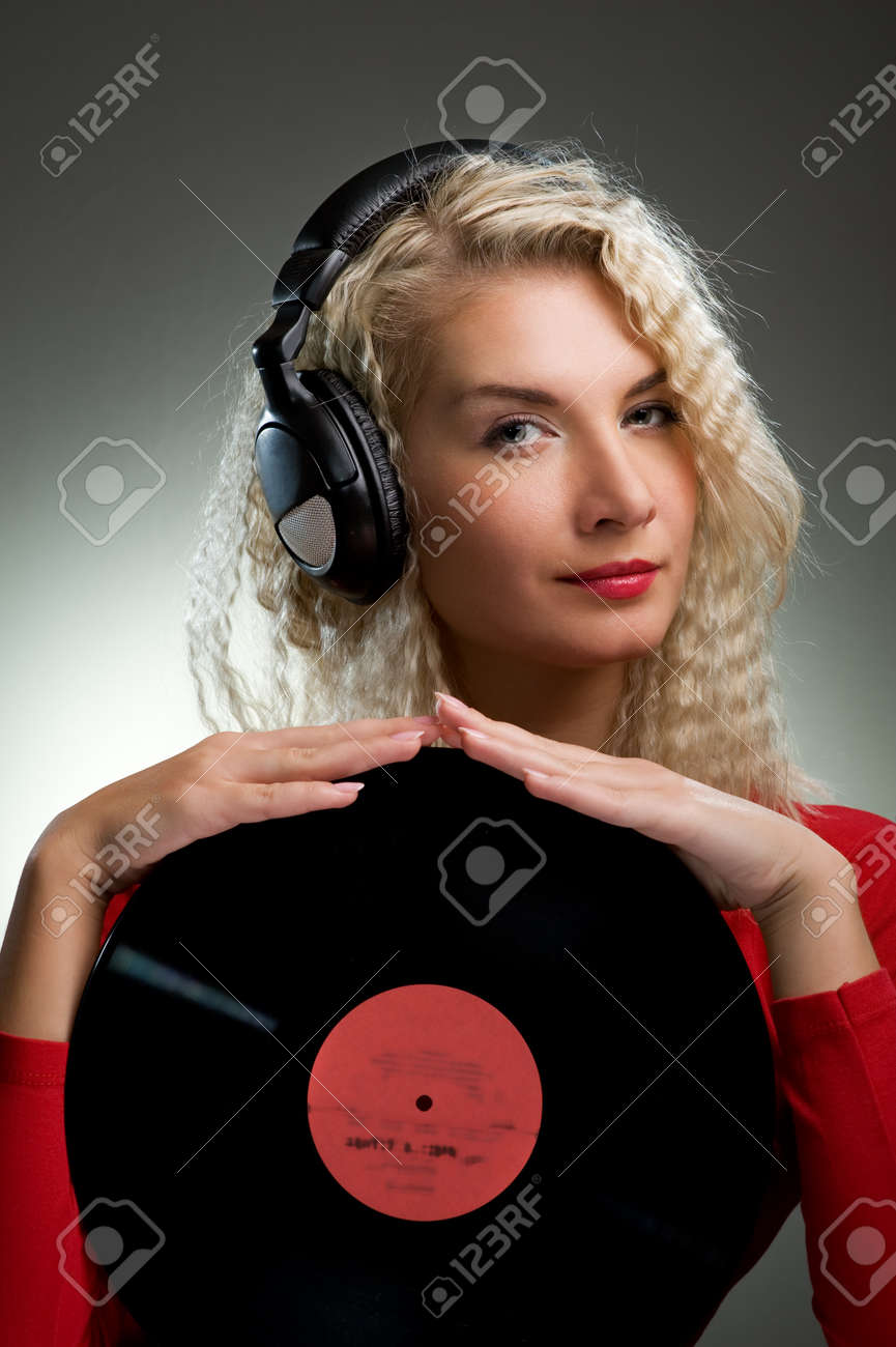 Beautiful female DJ Stock Photo - 4197815