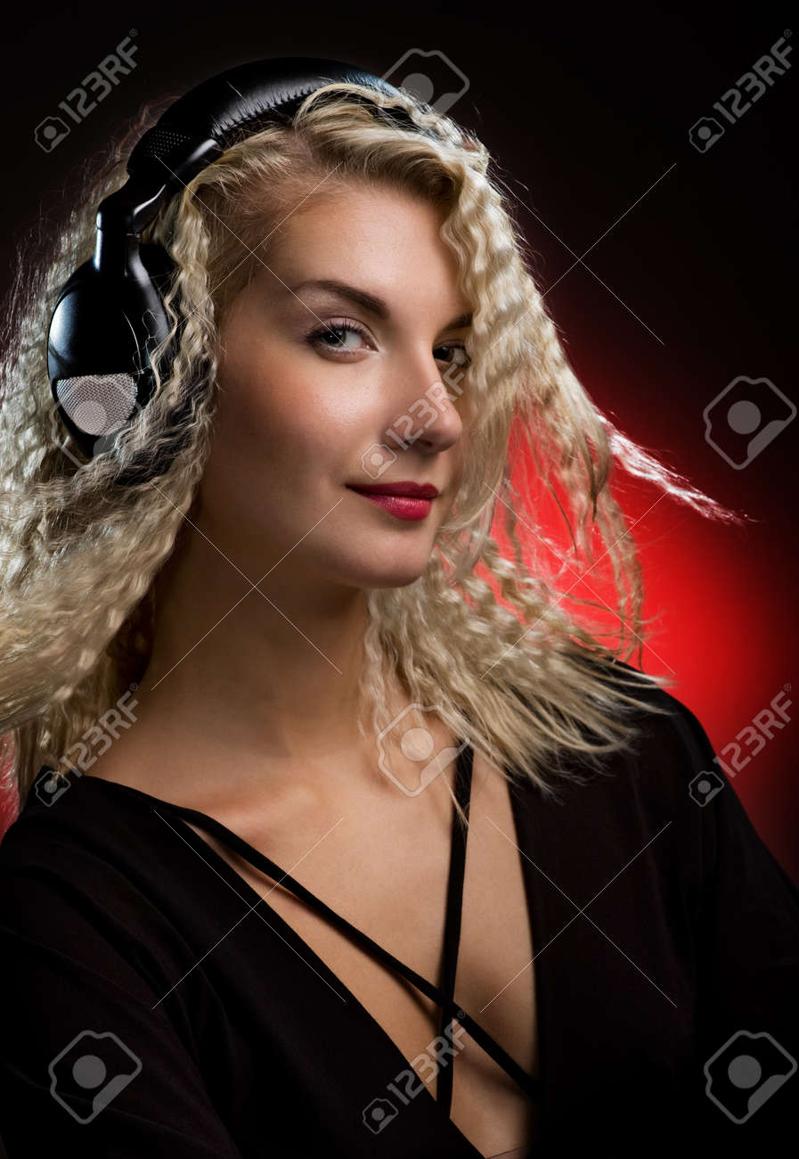 Beautiful young woman with headphones Stock Photo - 4299765